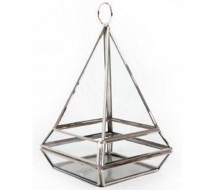 Fabulous Silver Pyramid Tealight Holder Plant Terranium