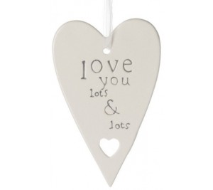 Hanging ceramic heart - Love you lots and Lots
