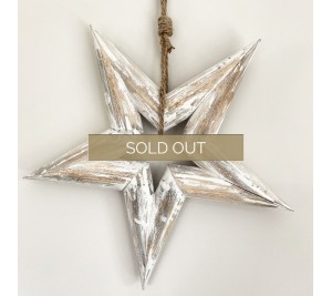 Distressed rustic white washed wood star