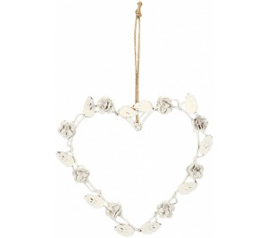 Shabby chic style cream heart with rose detail