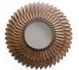 Extra Large Decorative Gold Feather Mirror