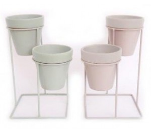 Love grows here double planters in soft grey or sage green