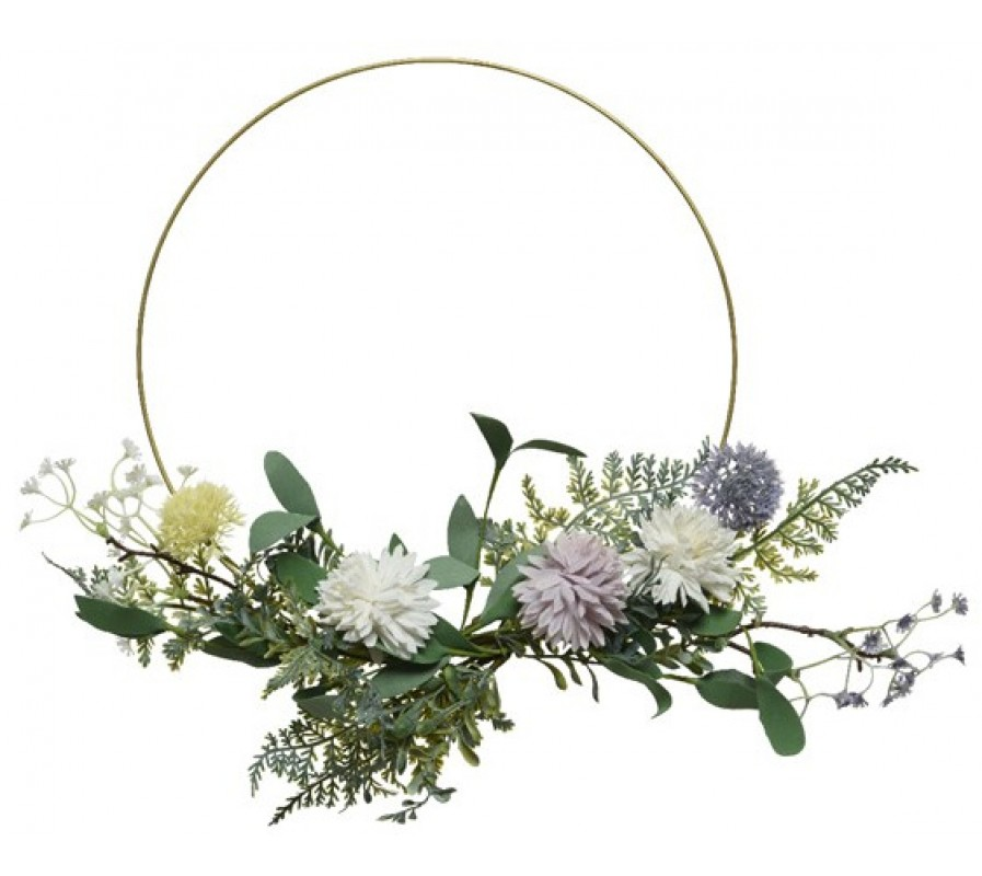 English garden metal hoop wreath with pretty lilac and yellow wild flowers and foliage 40cm
