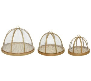 Set of three bamboo food storage for cakes and bakes