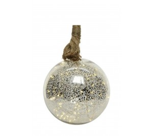 Rope hanging LED bauble 11cm