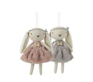 Fabulous grey or pink bunny with fluffy soft dresses