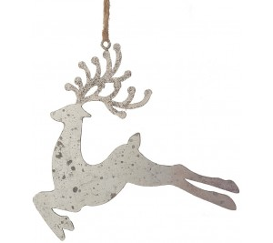 Decorative metal reindeer with jute string hanger and glitter antlers