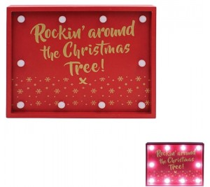 """LED Red wooden sign with gold writing """"Rocking around the Christmas tree"""""""