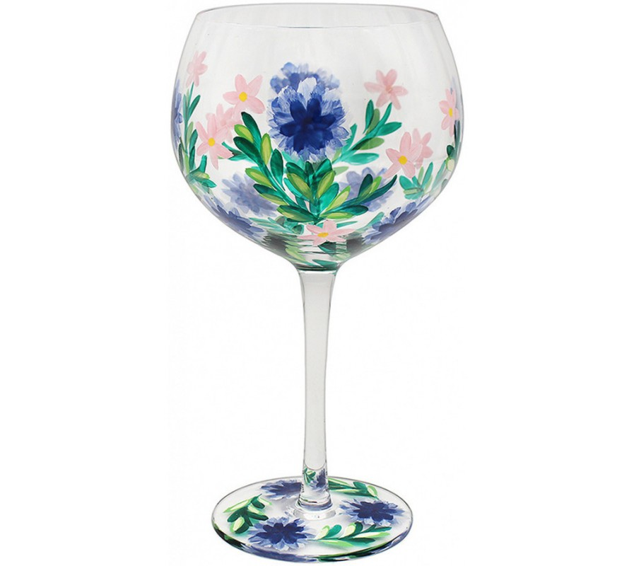 A beautiful hand painted flower gin glass