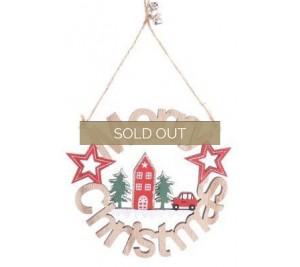 Festive red car Merry Christmas wooden Sign