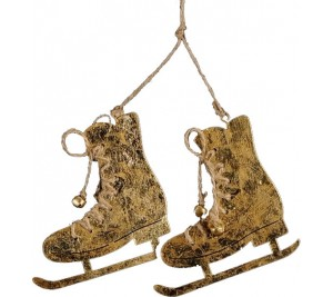 A pair of rustic antique style skates with jute string laces and bells