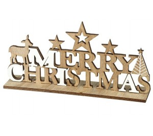 Natural wood Merry Christmas sign