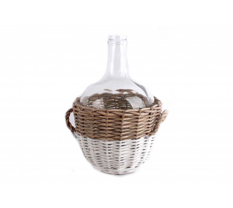 Wicker covered demijohn style clear bottle vase
