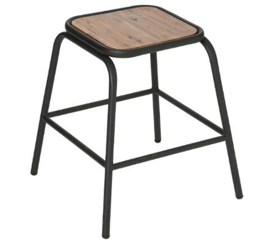 Black metal and acacia wood stools