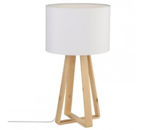 Wooden tripod table lamp with white cotton shade