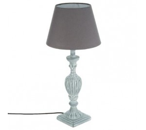 Vintage shabby chic french style wooden table lamp with grey shade