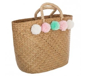 Children's French pom pom play shopping basket bag
