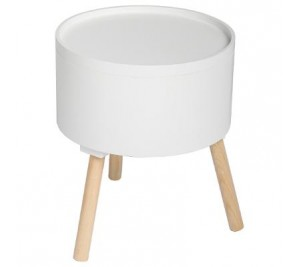 White multi-functional side table with three legs
