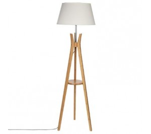 Very chic Scandinavian style bamboo tripod floor lamp with medium beige shade