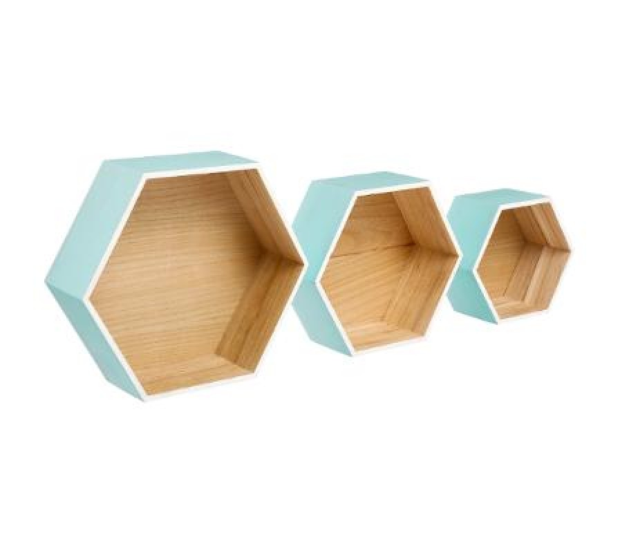 Stylish set of three graduated hexagonal wall shelves Scandinavian style