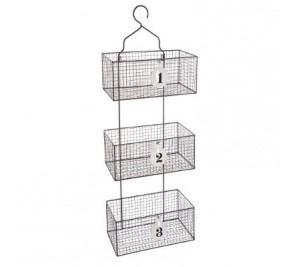 Industrial style hanging wire basket storage holder with 3 compartment organiser