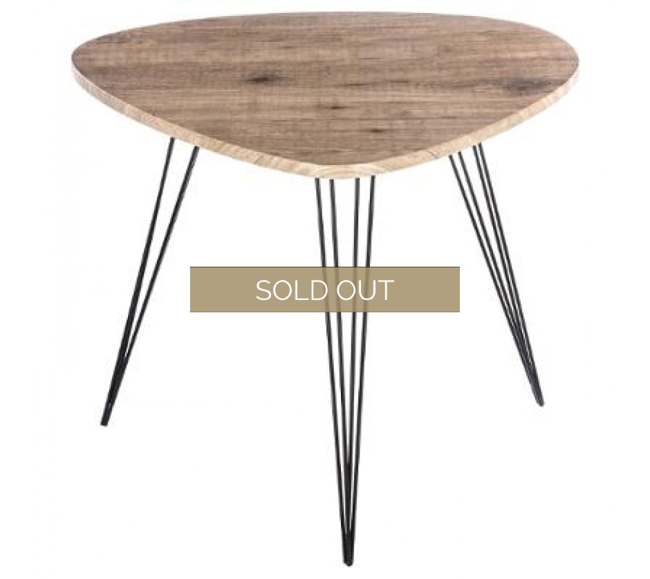 Stylish mid-century modern pebble shaped side table with hairpin legs