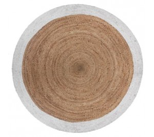 Jute woven round mat with either black or white border
