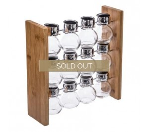 12 Jar spice rack with bamboo stand