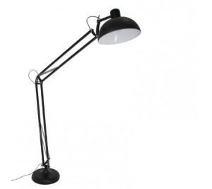 On trend Industrial style anglepoise black metal adjustable floor lamp