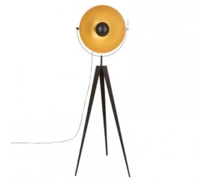 Parabol Retro Industrial style tripod floor lamp with copper and black shade