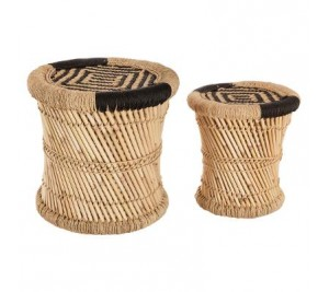 A pair of hand-woven bamboo, rope and hemp side tables with black trim