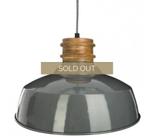 Grey industrial style pendant light fitting with wood detail