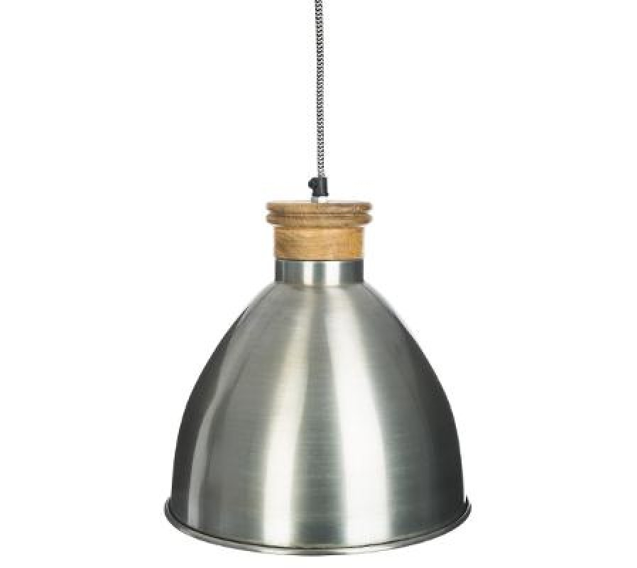 Zinc and wood Industrial style pendant light fitting