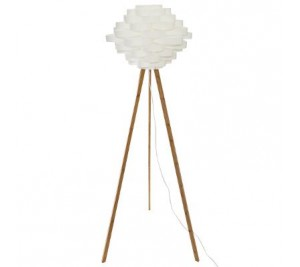Make your own super stylish bamboo tripod floor lamp with contemporary white pleated shade