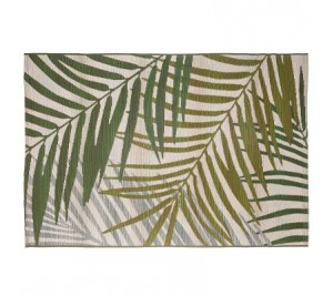 On trend botanical flat weave rug for indoor and outdoor use