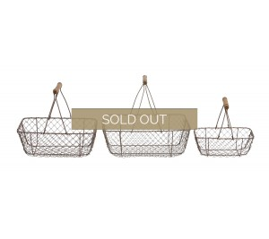 Set of three country style baskets wire with wooden handles