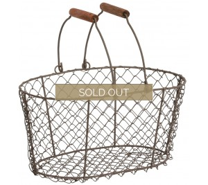 Large wire basket with wooden handles