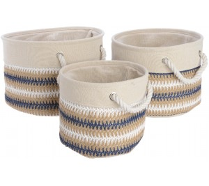 Cream and blue striped round canvas baskets comes in 3 sizes