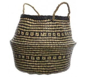 Bohemian style black and natural toned woven sea grass basket