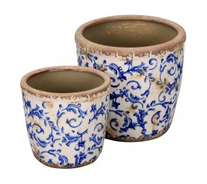 Set of two vintage style planters with blue floral design graduated