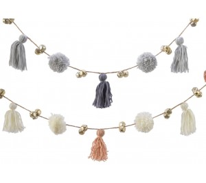Assorted pom pom tassel garlands with added bells