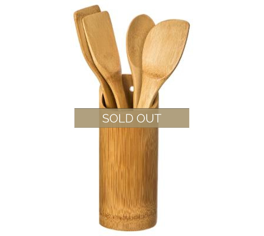 Bamboo kitchen utensil holder with four tools