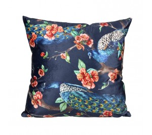 Vibrant navy floral peacock cushion in soft fabric